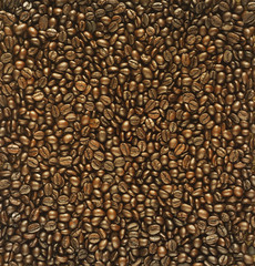 Roasted coffee beans for background, bright color brown