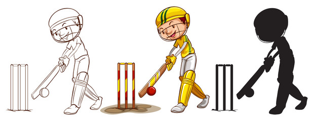 Sketches of a boy playing cricket in different colors