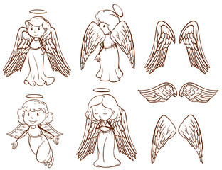Simple sketches of angels and their wings