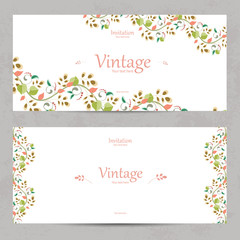 vintage floral invitation cards for your design
