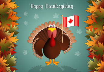 Turkey with Canadian flag for Thanksgiving