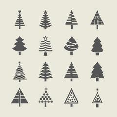 Abstract Christmas tree icons set