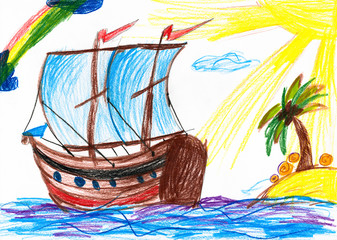 Sailboat and island. Child's drawing.