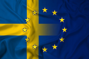 Waving Sweden and European Union Flag