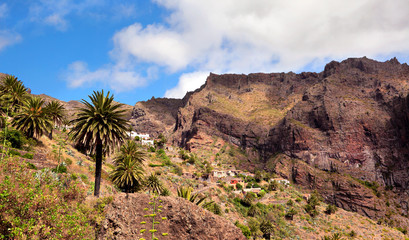 Landscape mountain with village Maska in Tenerife Spain