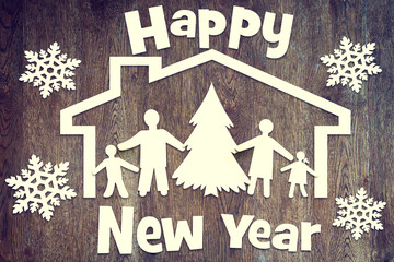 Happy family and New Year holiday