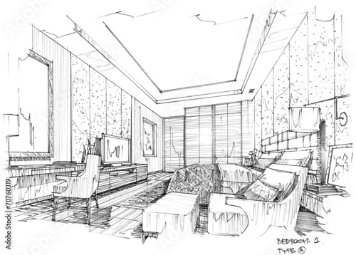 Sketch design hotel interior design hotel bedroom stock for Bedroom designs sketch