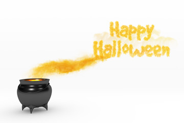 Smoking and bubbling cauldron with Happy Halloween.