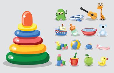Векторные иллюстрации детских игрушек и аксессуаров