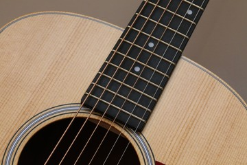 Closeup abstract of acoustic guitar with natural wood grain