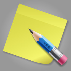 Blue pencil and yellow sticker reminder page