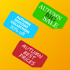 autumn big sale color advertising paper cards