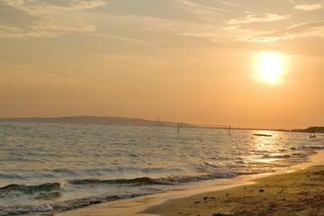 Sunset above the Tuscany beach