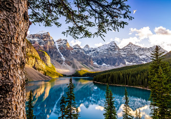 Landscape view of Morain lake and mountain range, Alberta, Canad