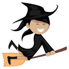 Witches all around - riding on a broom