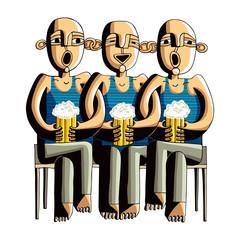 Three drinking hairless men sitting on a wooden bench, singing f