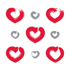 Set of hand-drawn red love heart icons, collection of loving hea