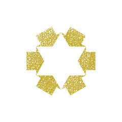 Six point star created with arrows, vector symbol with hand draw
