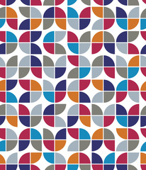 Vector colorful geometric background, rounded floral abstract se