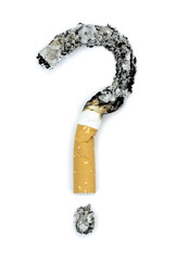 Question mark with burnt  cigarettes. Conceptual image.