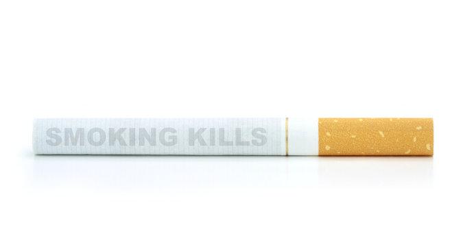 Smoking kills. Text on cigarette