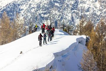 Wall Mural - Gruppo di persone ciaspola in montagna