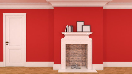 interior in red with a fireplace, books and empty pictures. 3D