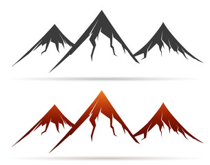 Mountain icon on white background