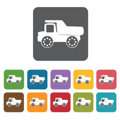 Dump truck building icon. Building and construction and home rep