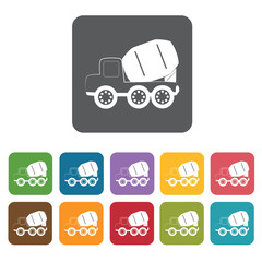 Cement mixer building icon. Building and construction and home r