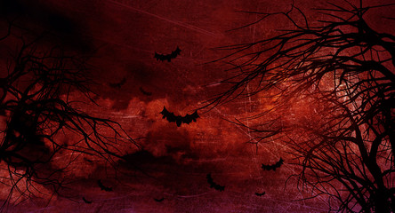 Deurstickers Bruin Grunge Halloween background with spooky trees