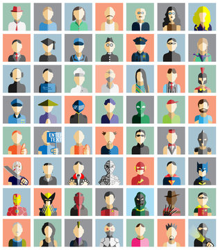 MEGA COLLECTION 56 OF PEOPLE ICONS FLAT AVATAR