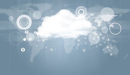 Cloud with world map and network