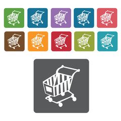 Shopping cart facing shopping cart icon. Rectangle colourful 12