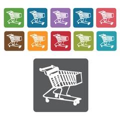 Right facing narrow shopping cart icon. Rectangle colourful 12 b