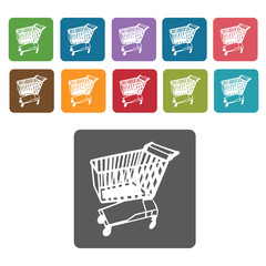 Left facing shopping cart icon. Rectangle colourful 12 buttons.