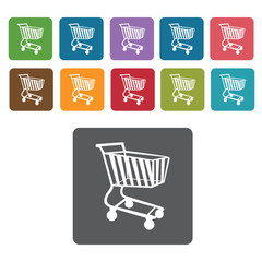 Right facing shopping cart icon. Rectangle colourful 12 buttons.