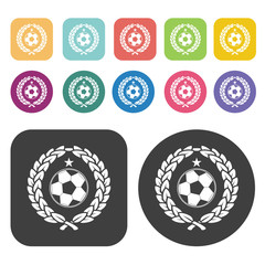 Soccer ball with laurel leaves sign icon. Football soccer icon s