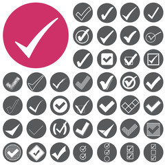 Check mark sign icons set. Vector Illustration eps10
