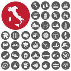 Attractions, food and culture of Italy. Vector Illustration eps1