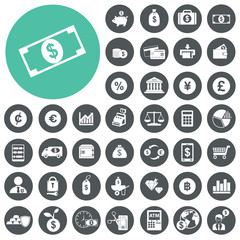 Finance and money icon set. Vector Illustration eps10