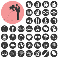 Wedding, marriage, bridal icon set. Vector Illustration eps10