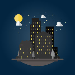 Flat design of cityscape at night