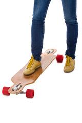 Skateboarder's feet and skateboard