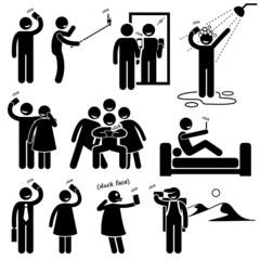 Selfie Stick Figure Pictogram Cliparts Icons
