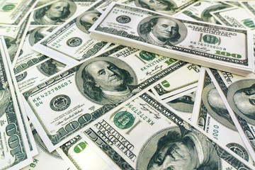 Pile of One hundred US dollar bills