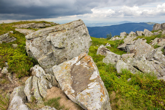 stones and boulders in  hight mountains