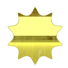 glossy gold premium icon - 3D render isolated on white