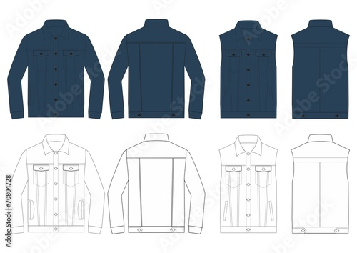 denim jacket design template for mens clothing stock image and