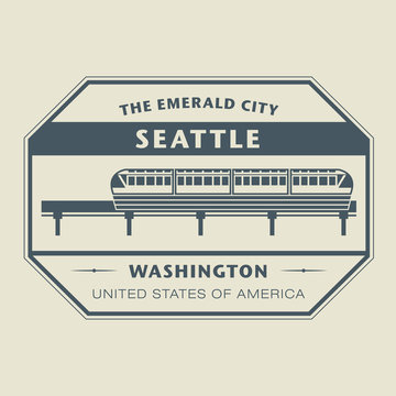 Stamp with name of Washington, Seattle, vector